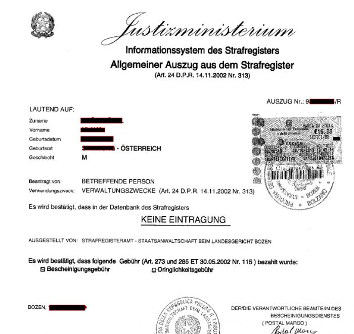Strafregister in Italien (Führungszeugnis)